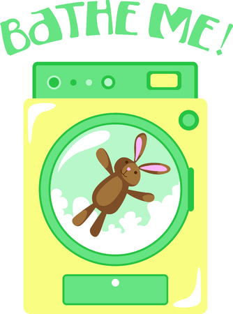 household chores: This bunny wash is the perfect image for your next design. Illustration