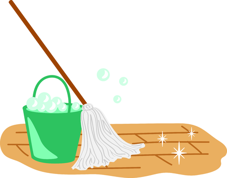 household chores: This mopping image is the perfect image for your next design. Illustration