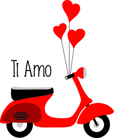 This Italian scooter is the perfect Valentines Day design.