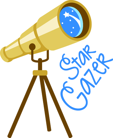 gazer: Set sights on the stars!  Stitch this telescope to decorate clothing or decor for your favorite astronomer. Illustration