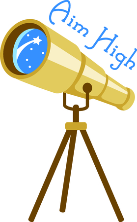 spy glass: Set sights on the stars!  Stitch this telescope to decorate clothing or decor for your favorite astronomer. Illustration