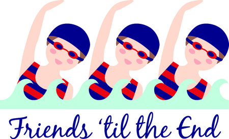 triplet: Triplet swimmers in complete unison demonstrate why our team design is a winner!  Decorate your team towel with these happy girls.