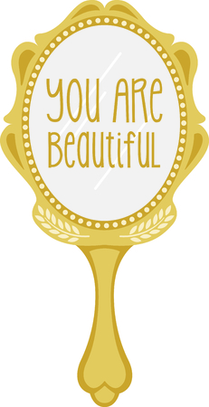 look in mirror: Heres a special magic mirror - makes everything you stitch it on the most beautiful it can be! Illustration