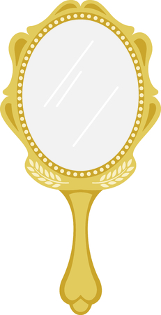 reflection mirror: Heres a special magic mirror - makes everything you stitch it on the most beautiful it can be! Illustration