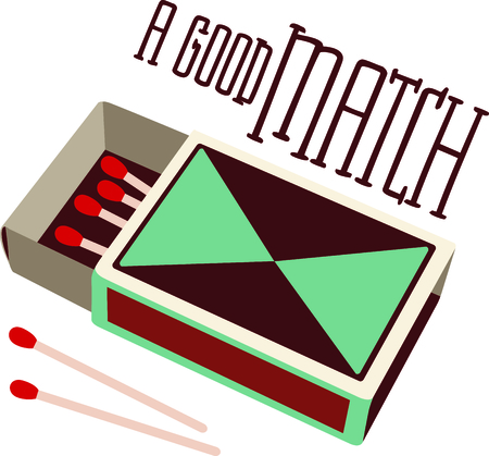box of matches: Retro style design decorates this box of wooden matches.  A cleaver take on words make it great for so many uses - A Good Match