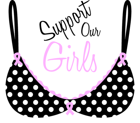 Our polka dot bra decorated with pink awareness ribbons is a visual reminder to support those in the fight against this disease.
