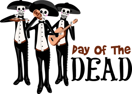 dia de los muertos: The walking skeletons are the perfect design for a Halloween party.