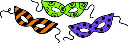 These Halloween party masks are a perfect addition for your masquerade party. Ilustração