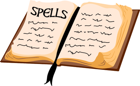 spells: A witches book of spells is the perfect design for a Halloween party. Illustration