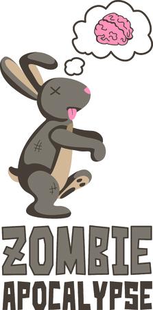cottontail: Un zombi conejo es el dise�o perfecto para una fiesta de Halloween.