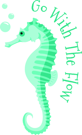 marine scene: Use this image of a sea horse in your next ocean design. Illustration