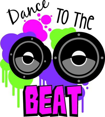 私たちのカラフルに装飾されたスピーカー、DJ やパーティーのギアは偉大な組み合わせを作る。 ノイズを感じる!  イラスト・ベクター素材