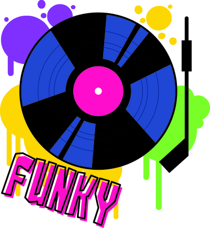 Play that funky music DJ!  This throwback vinyl record is a fun and colorful embellishment for your party gear. Illustration