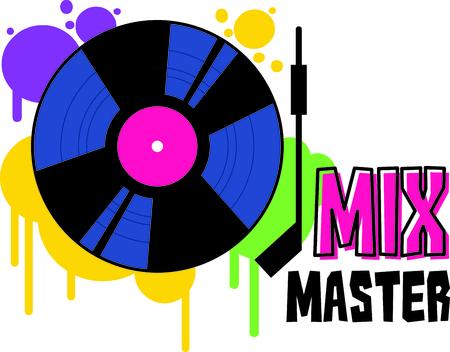 そのファンキーな音楽 DJ を再生! この先祖返りビニール レコード、楽しくパーティー ギアのカラフルな装飾です。  イラスト・ベクター素材