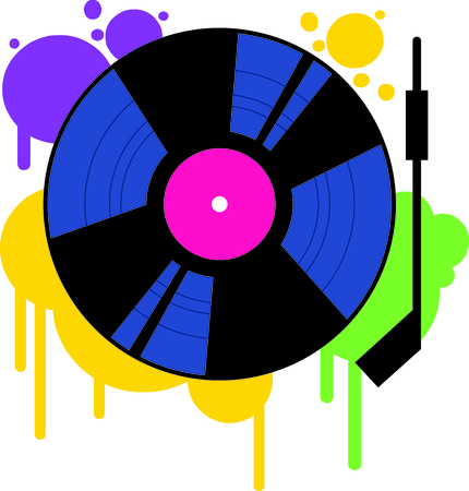 funky music: Play that funky music DJ!  This throwback vinyl record is a fun and colorful embellishment for your party gear. Illustration