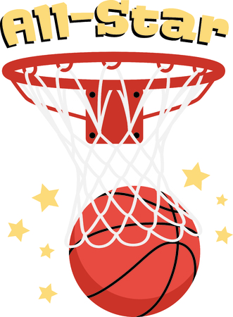 allstar: Decorate your hoop shootin gear with this detailed basketball graphic. Stitch the stars in gold for added sparkle! Illustration