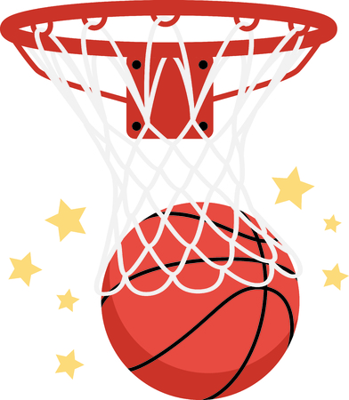Decorate your hoop shootin gear with this detailed basketball graphic. Stitch the stars in gold for added sparkle! Ilustrace