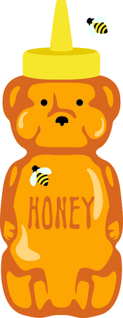 squeeze: Use this honey bear squeeze bottle design for kitchen accessories. Illustration