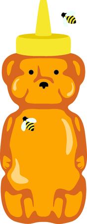 Użyj tej butelki wycisnąć miód niedźwiedź projekt dla akcesoriów kuchennych. Ilustracje wektorowe