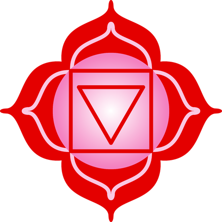 muladhara: Chakra square for Hindu religious sayings and symbols. Illustration