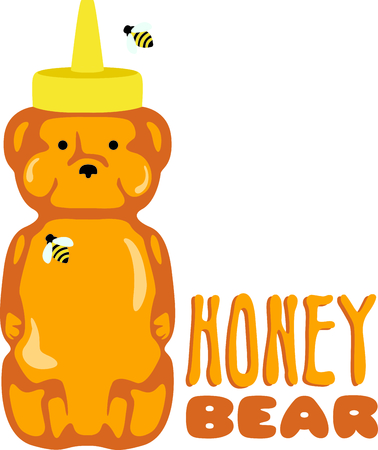 critter: Use this honey bear squeeze bottle design for kitchen accessories. Illustration