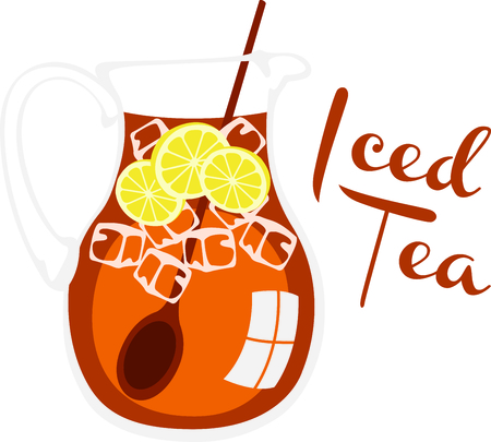 caffeinated: Pitcher of ice cold tea with lemon. Illustration