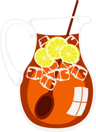 ice tea: Pitcher of ice cold tea with lemon. Illustration