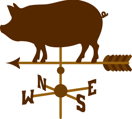 vane: Pointing weather vane arrow with a pig on top.