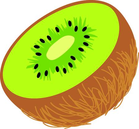 1 つの半分の緑のキウイ フルーツ。  イラスト・ベクター素材