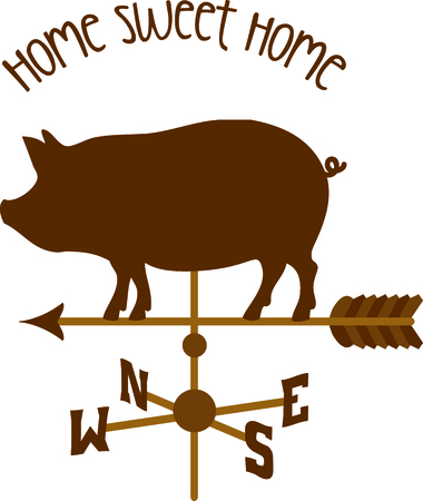 Pointing weather vane arrow with a pig on top.