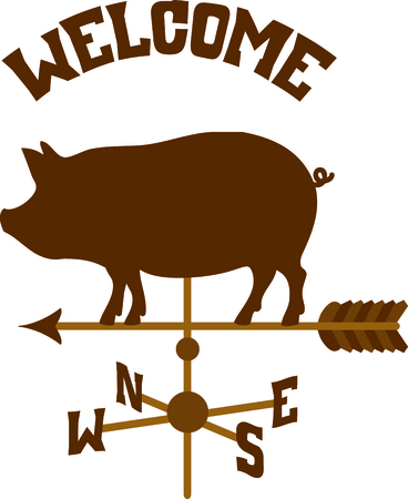 weathercock: Pointing weather vane arrow with a pig on top.