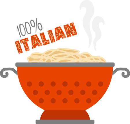 Cute for a kitchen linen or dish towel, use this collander of spaghetti in memory of your favorite pasta dish. Иллюстрация