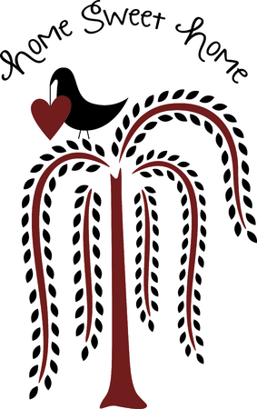Stylized blackbird holding a heart in a willow tree. Use for home decorating. Illustration