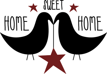 Stylized blackbird couple holding a red star. Use for Valentines Day or Country decorating. 일러스트