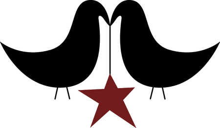 thrush: Stylized blackbird couple holding a red star. Use for Valentines Day or Country decorating. Illustration
