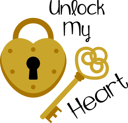 Heres the key that unlocks the heart lock.  What a fun embellishment for shirts and wedding decor! Ilustração