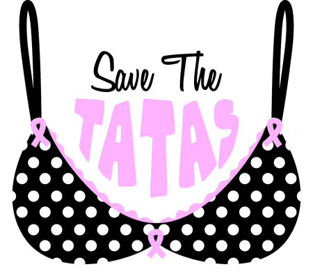 Raise awareness for the girls who are in the fight over breast cancer!  Stitch our polka dot bra anywhere you want to display your support. Ilustrace