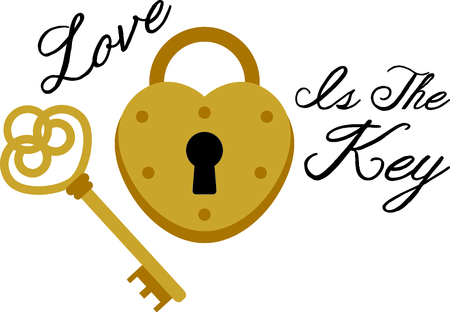 latch: Heres the key that unlocks the heart lock.  What a fun embellishment for shirts and wedding decor! Illustration