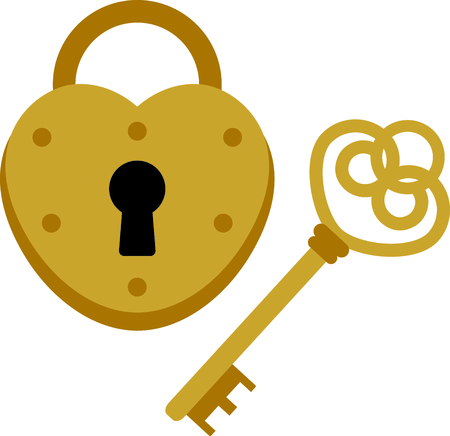 here's: Heres the key that unlocks the heart lock.  What a fun embellishment for shirts and wedding decor! Illustration