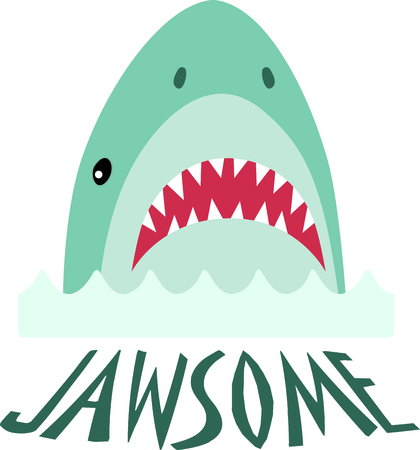 fascinated: Little boys are fascinated with sharks.  Add this to a design just for them. Illustration