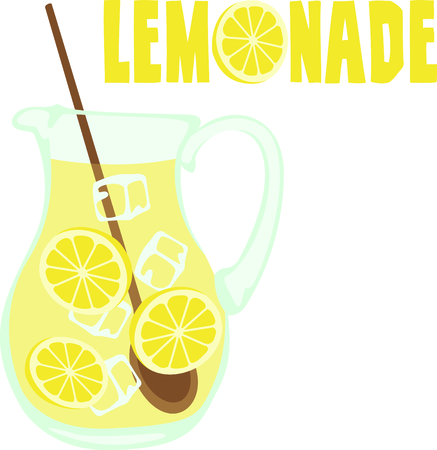 Kids enjoy freshly made lemonade on a hot summer afternoon.  Çizim