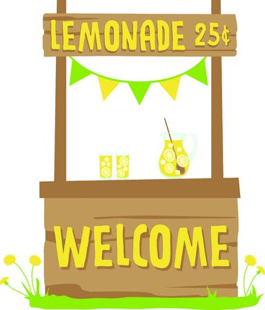 plant stand: Kids enjoy freshly made lemonade on a hot summer afternoon. Illustration