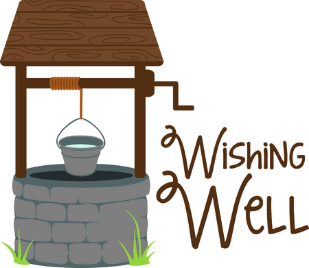 This lovely wishing well brings back memories of pennies for wishes.  This version is perfect for a going away gift for someone special. Ilustração