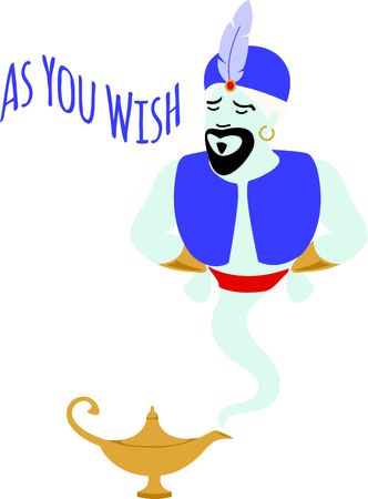 granting: Heres Aladdin himself with his magical, wish granting lamp.  He is a lovely figure to stitch on children garments or room dcor. Illustration