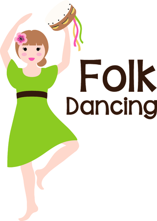 playing folk: A favorite holiday song, The tweleve Days of Christmas. Folk dancing girl playing her tambourine.
