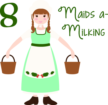 milk pail: A favorite holiday song, The tweleve Days of Christmas. The eighth day, eight maids a milking.