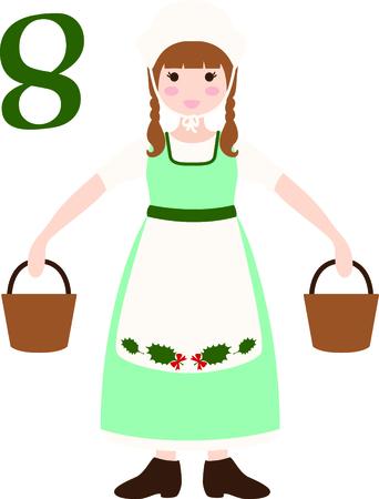 Een favoriete vakantiebestemming nummer, The tweleve Days of Christmas. De achtste dag, acht meisjes a melken. Stock Illustratie