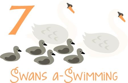 Een favoriete vakantiebestemming nummer, The tweleve Days of Christmas. De zevende dag, zeven zwanen een zwemmen. Stock Illustratie
