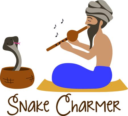 このインドのヘビ使いは、好奇心のための彼の才能を表示します。 これは、楽しい「ワールド ・ トラベラー」プロジェクトのためのデザイン。