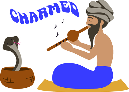charmer: This Indian snake charmer displays his talent for the curious.  It is a fun design for your world traveler projects.